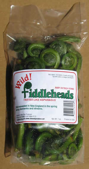 Package of wild fiddleheads from Blue Sky Produce.